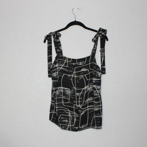 Mossimo Abstract Line Tie Strap Tank Top Med NWT